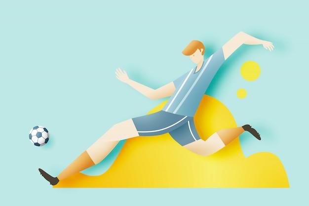 男はスポーツのためのクールなキャラクターデザインでサッカーをする