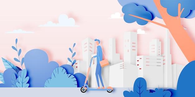 Человек на электрический скутер