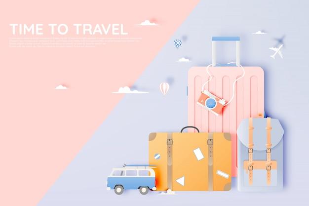 さまざまなアイテムをペーパーアートスタイルで旅行する
