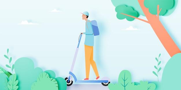 電動スクーターの男