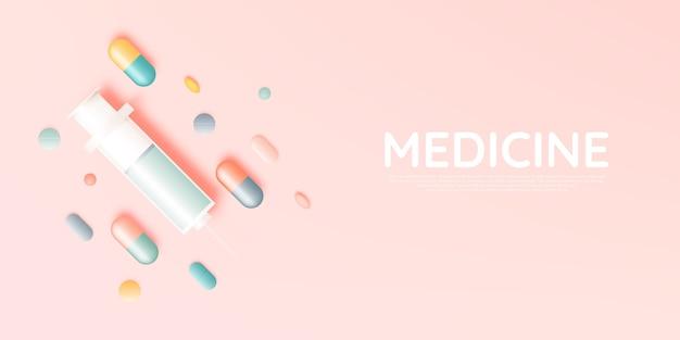 Шприц и лекарство в пастельных тонах