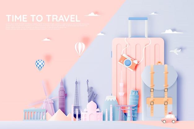 ペーパーアートスタイルのさまざまな旅行アトラクション