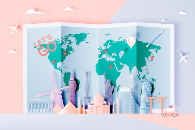 Различные туристические аттракционы в стиле бумажного искусства