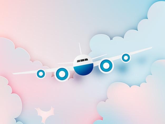 Самолет с высоты птичьего полета бумаги искусства с красивым фоном