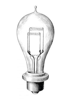 分離された電球ランプ黒と白のクリップアートのアンティーク彫刻イラスト