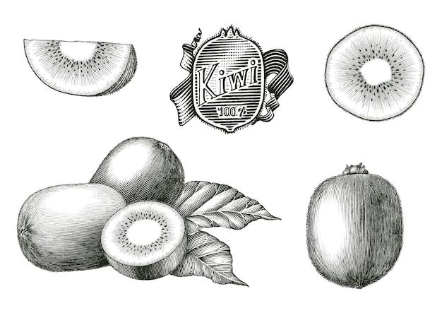 キウイフルーツコレクション手のアンティーク彫刻イラスト分離ビンテージスタイルの黒と白のクリップアート