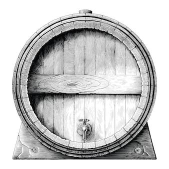 アンティークの彫刻イラストオークバレル手描きの黒と白のクリップアート分離、アルコール発酵バレル