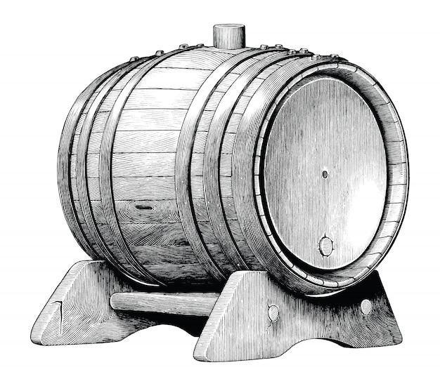 分離された黒と白のクリップアートを描くオーク樽手、アルコール発酵オーク樽のアンティーク彫刻イラスト