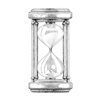 砂時計の手描きのビンテージスタイル
