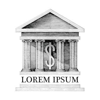 Античная иллюстрация банка винтажном стиле гравировки на белом фоне