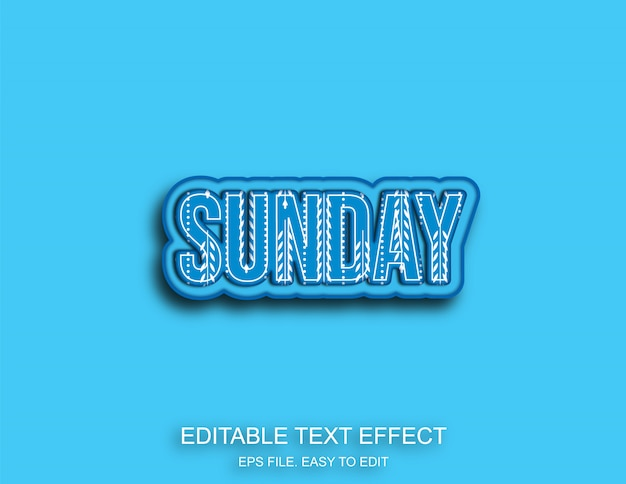 Воскресный узор ретро текстовый эффект