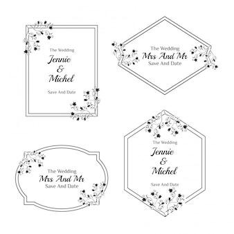 花の結婚式の招待状のシンプルなテンプレートコレクション
