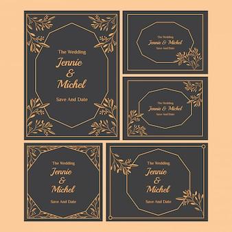 Коллекция шаблонов цветочных приглашений на свадьбу