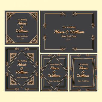 花の結婚式の招待状テンプレートコレクション