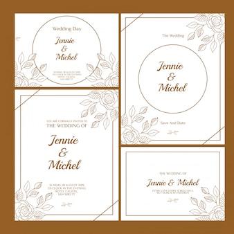 花の結婚式の招待状テンプレートセット