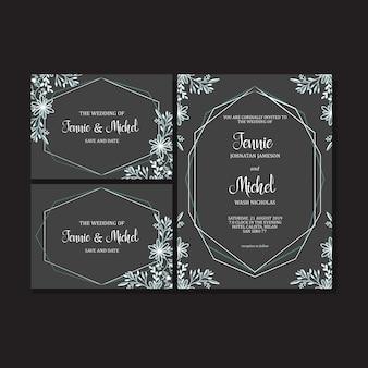 Цветочный шаблон свадебного приглашения, зимний дизайн