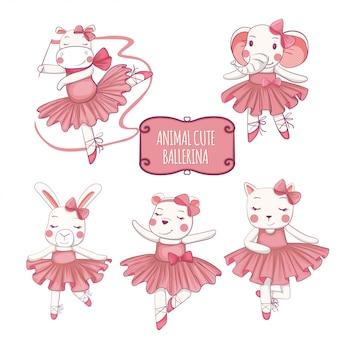 バレエダンサー、象、猫、カバ、ウサギ、かわいいクマのベクトルイラストセット。