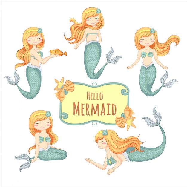 イラストかわいい小さな人魚の手描きのセット