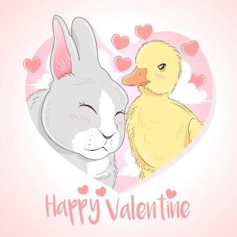 幸せなバレンタインウサギとアヒル