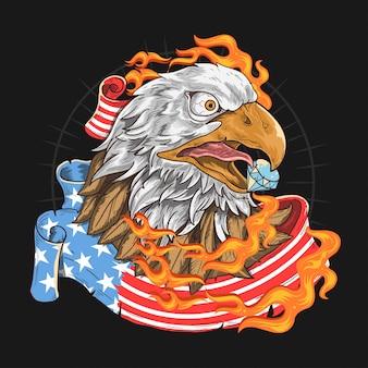 アメリカ国旗のワシの火
