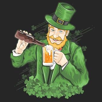 聖パトリックの日シャムロックビールベクトル