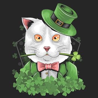 聖パトリックの日シャムロック猫ベクトル
