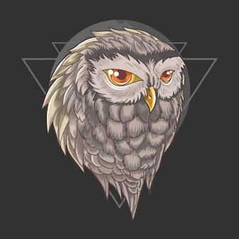 フクロウの頭部ベクトル