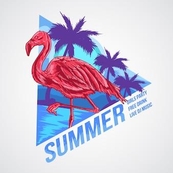 フラミンゴ夏要素アートワークベクトル