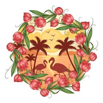 Летний вид на пляж фламинго с кокосовой пальмой и цветочным вектором