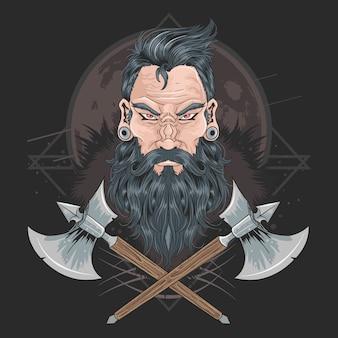 Воин борода мужчины пирсинг