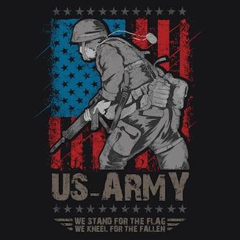 アメリカ陸軍の旗とアメリカ軍
