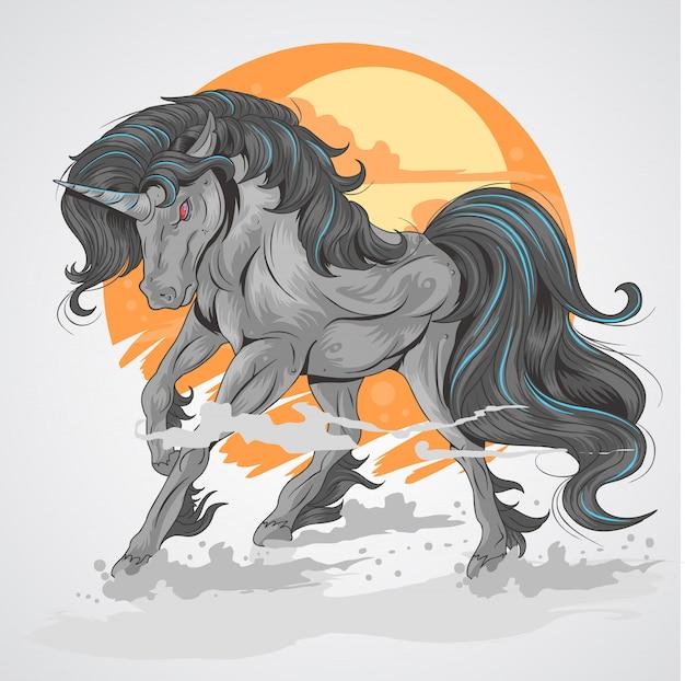 Лошадь черный единорог с фоном солнца и дым на ноге, ярко черный единорог
