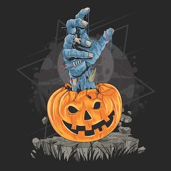 ハロウィン用のかぼちゃとゾンビの手アートワーク