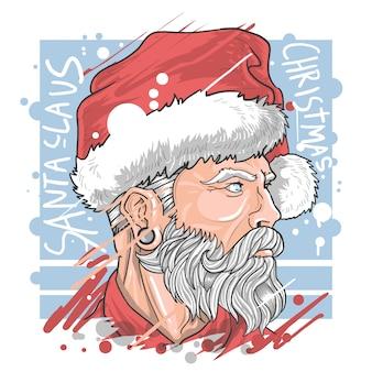 サンタクロースクリスマスアブストラクトペインティングウォーターカラーイラスト詳細ベクトル