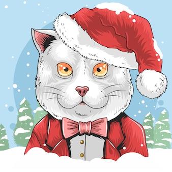 サンタクロースの帽子と猫クリスマスイラストかわいい