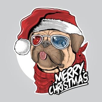クリスマス帽子アートワークと犬の子犬パグサンタクロース