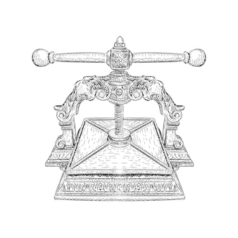 印刷機のイラスト、手描きのスケッチ
