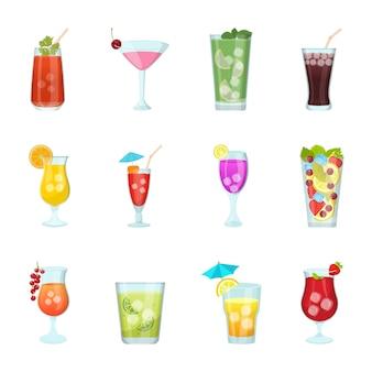 Набор иконок стаканов сока