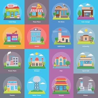建物と建設セット