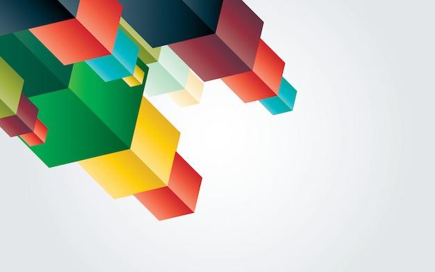 抽象的なカラフルな幾何学的キューブ要素の設計