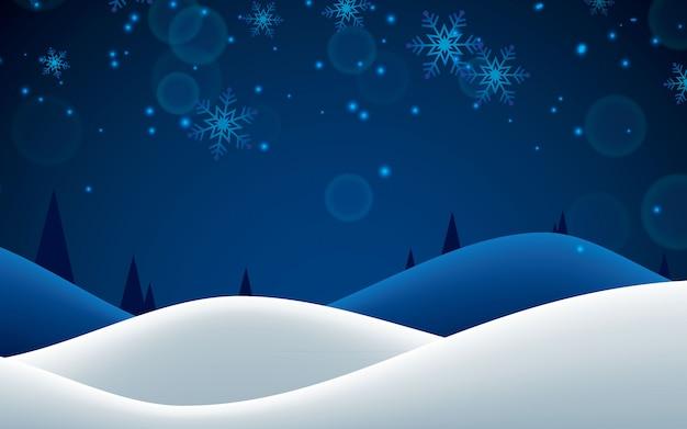 夜の冬落ちる雪片の背景