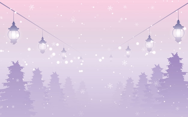 降雪とランタンと雪の夜の森
