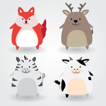 Симпатичный набор животных, в том числе лиса, олень, зебра, корова. векторные иллюстрации