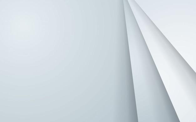 白い重なり合ったレイヤーと灰色の抽象的な背景。