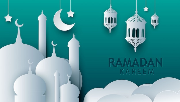 Рамадан карим белая бумага арт стиль дизайн