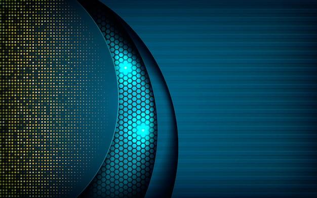 暗い六角形の背景に青の抽象的な寸法