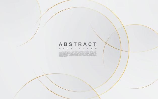 サークルゴールドラインと抽象的な銀色の背景