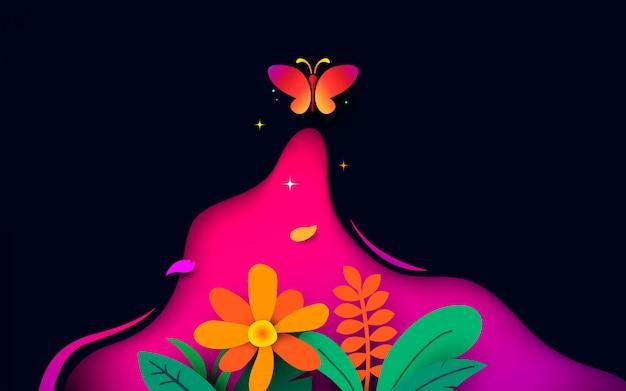 暗い背景に蝶が飛ぶ