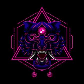 Тигр дьявол злой демон векторная иллюстрация