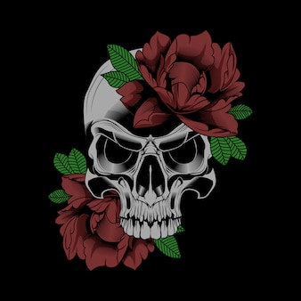 花の頭蓋骨のベクトル図